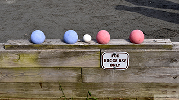 Five bocce balls.