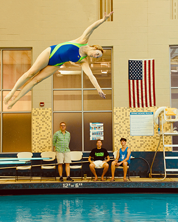 Woman diving.