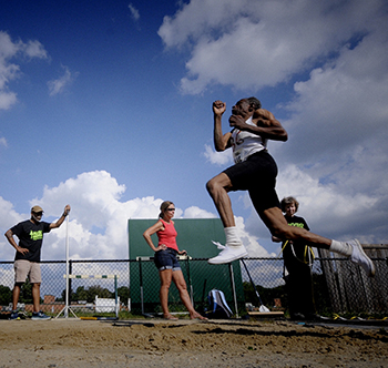 Contestant in long jump.