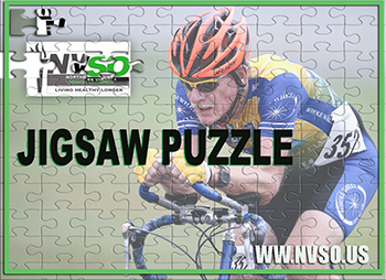 Jigsaw puzzle of man on bicycle.