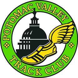 Potomac Valley Track Club logo.